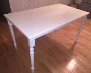 White rectangular dining table