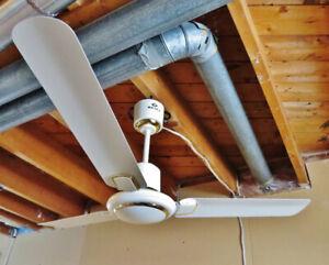 Ventilateur de plafond ivoire et laiton 120 cm NEUF