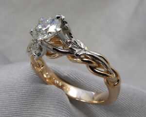 Rose gold and platinum engagement ring (.52 ct stone)