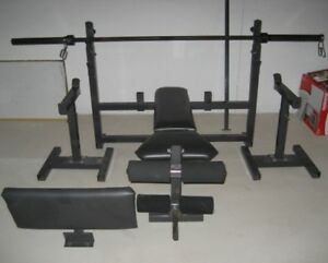 Olympic Weight Bench with over 200lbs and accessories