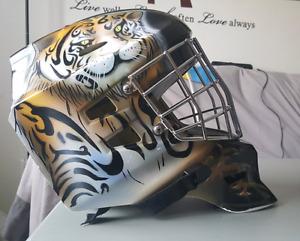Reebok 3K goalie mask with Tiger paint job
