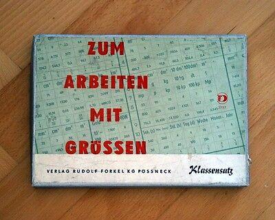 """DDR KLASSENSATZ """" ZUM ARBEITEN MIT GRÖSSEN """" RUDOLF FORKEL SCHULE OSTALGIE OVP"""