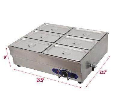 6-pot Counter Top Warmer Bain-marie Buffet Steam Table Food Warmer 110v 1500w