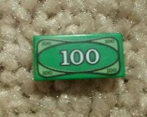 Lego 1x2 Tile 100 Dollar Bill Pattern Money Green Cash