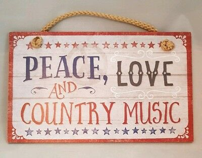 Peace Love Country Music Americana Sign Wall Art Decor 9.5