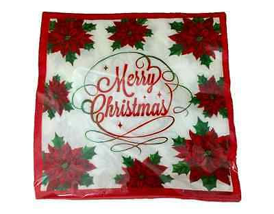 Christmas Paper Napkins Lunch Or Dinner Merry Christmas w/ Poinsettias 20 Count
