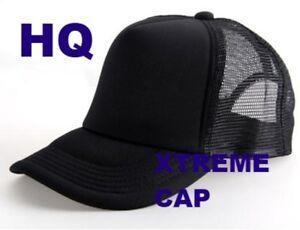 NEW Classic High Quality Black Trucker Mesh Cap Snapback Plain Blank Hat