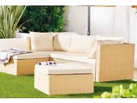 Garden rattan corner sofa beige