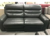 La Z Boy Charcoal grey leather recliner 3 seater sofa