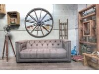 DFS Trafalgar Chesterfield Style Medium Sofa Fabric Grey