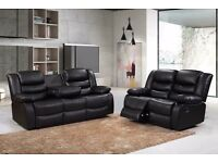 FREE UK DELIVERY ***BRAND NEW 3+2 REAL RECLINER SETS**AVAILABLE IN MIDNIGHT BLACK/CHOCOLATE BROWN