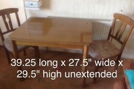 BARGAIN Lawson imports wooden table and 2 padded chairs in excellent condition