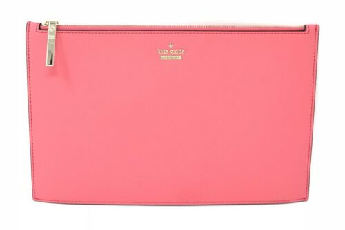 Kate Spade Cameron Street Lilia Leather Clutch Bag Bright Flam