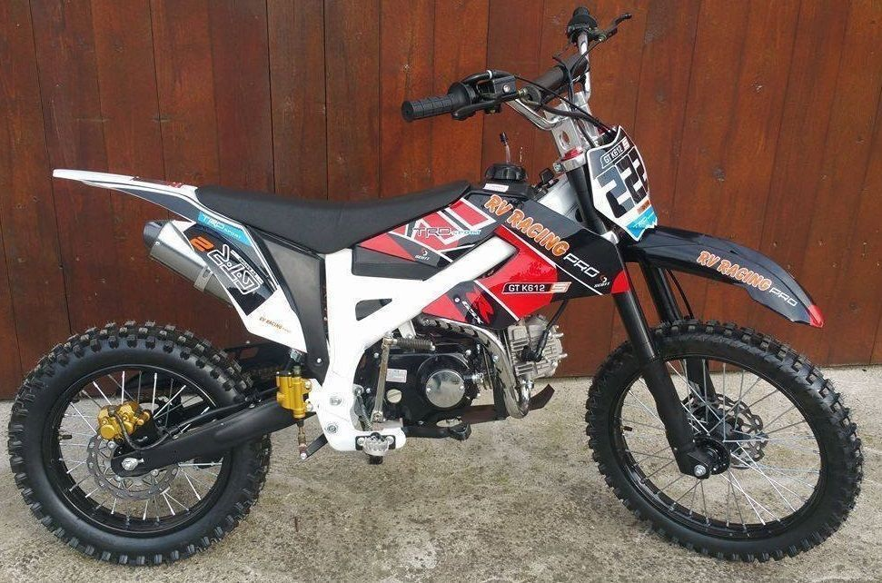 125ccm dirtbike pitbike 4takt 4 gang 17 14 enduro cross motorrad schwarz ebay. Black Bedroom Furniture Sets. Home Design Ideas