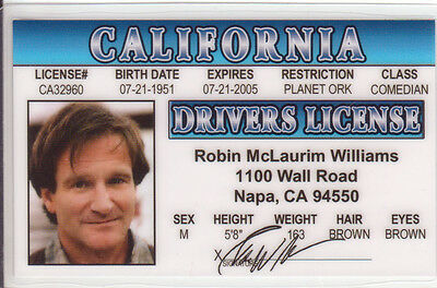Robin Williams star of Mrs Doubtfire POPEYE the Sailor Man HOOK Drivers License