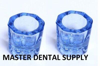 2 Dental Lab Glass Dappen Dish Blue Acrylic Liquid Holder Art Nail Crystal Cup