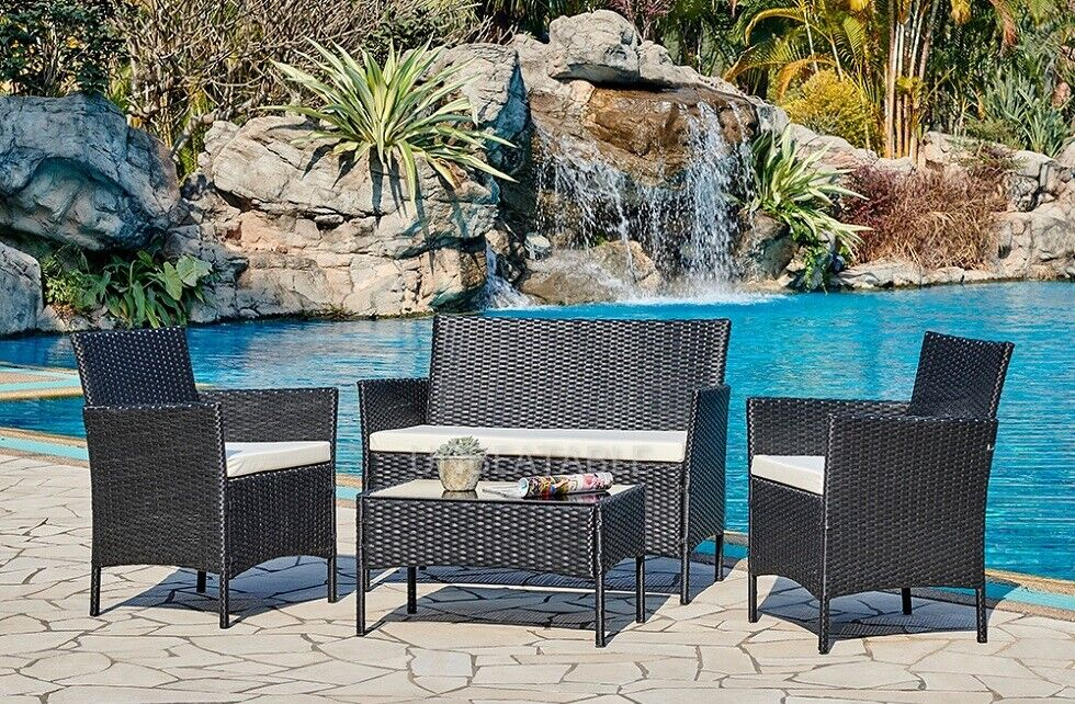 Garden Furniture - Rattan Garden Furniture Set Conservatory Patio Outdoor Table Chairs Sofa Cover