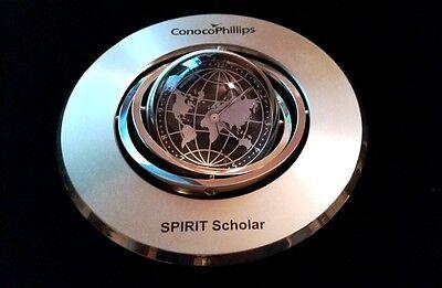 "Unique Conoco Phillips ""Spirit Scholar"" Heavy Desktop Metal Spinning Clock !!"