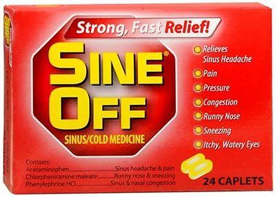 Sine-Off Sinus/Cold Medicine Caplets, 24 Count Each