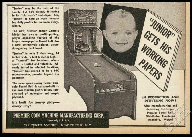 1946 Premier Junior Barrel Roll skee-ball type arcade game photo trade print ad