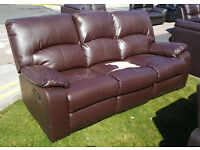 CODE 50 - 3 Seater Brown Leather Recliner Sofa - CHEAP CLEARANCE DISCOUNT - Damaged WAS £599