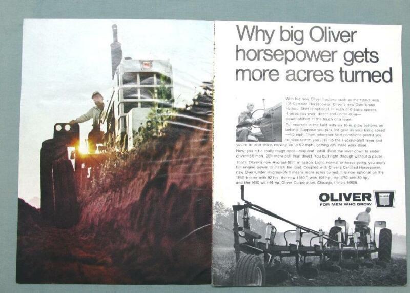 Original 1968 Oliver 1950-T Ad BIG HORSEPOWER GETS MORE ACRES TURNED
