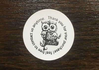 Thank You For Your Purchase Owl Stickers Sales Labels Envelope Seals 1 Round
