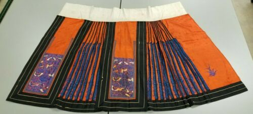 Antique Chinese Pair Skirts Silk Forbidden Stitch Knot Thread Orange Blue Stamp