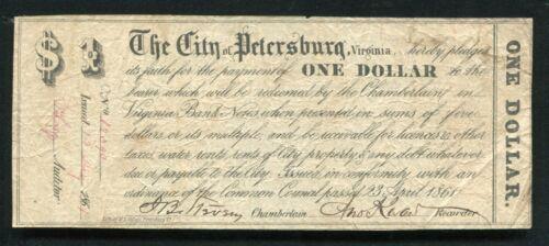 1861 $1 ONE DOLLAR THE CITY OF PETERSBURG VIRGINIA OBSOLETE SCRIP NOTE