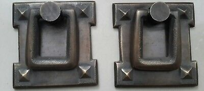2 Arts and Crafts antique style brass handles pulls hardware  2 1/16