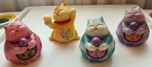 """Colorful Japanese Lucky Cat Ceramic Figurines approx 4.5"""" -5""""H, SET of 4"""