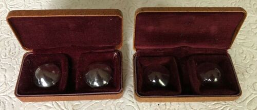 """6 Vintage Early Contact Lenses in 2 Cases, 3 Sets total, huge! 1"""" across"""