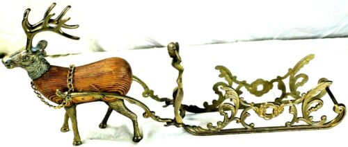 Vintage Victorian Style Sleigh with Reindeer 22in long Brass and Wood