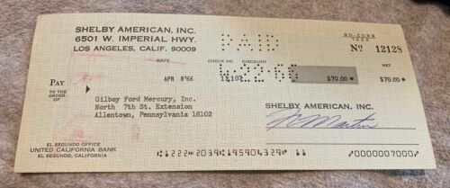 1966 Original Shelby American Signed Check Gilboy Ford Mercury mustang cobra
