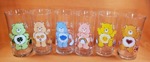 Care Bears Pizza Hut Glasses Set of Six (6) Vintage 1983 Good Luck Bear