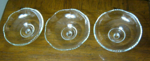 3-Old Cambridge Heisey ELEGANT Crystal Glass Candleholder INSET DISH Bowl TOPS