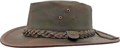 Australian Outback Hats (Leather Hat Australian Cowboy Western Bush Style Outback Mens Ladies 100%)
