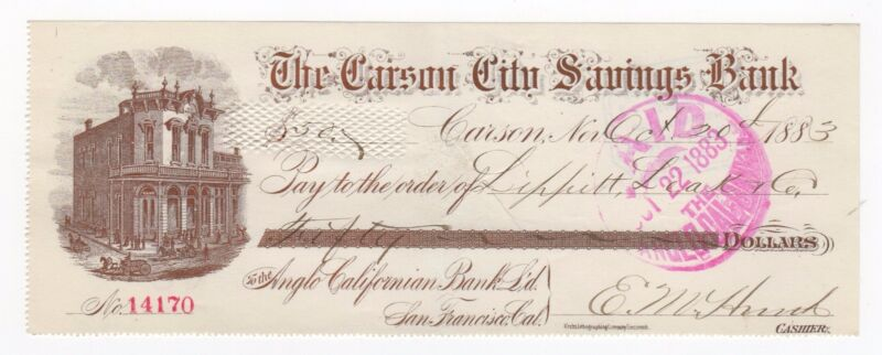 1883 The Carson City Savings Bank Check