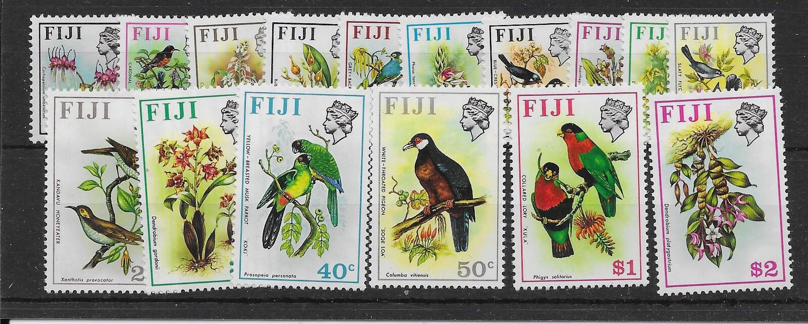 FIJI SG435/50 1971 BIRDS/FLOWERS DEFINITIVE SET MNH