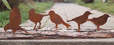 Edelrost 5er Set Vögel mit Schraubgewinde 15x10cm für Holz Zaunfigur Gartendeko