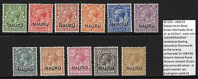 "NAURU SG1/12 1916-23 DEFINITIVE SET OFSET ""NP IMPRIMATUR"" ON REVERSE MNH"