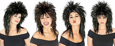 Womens Black & Tinsel Wig 80s Rocker Long Hair Blue Red Gold Silver Adult - Gold Tinsel Wig