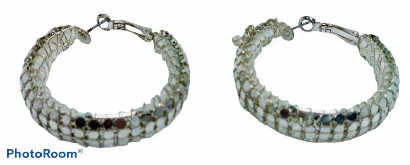 Silver Tone Hoop Pierced Earrings