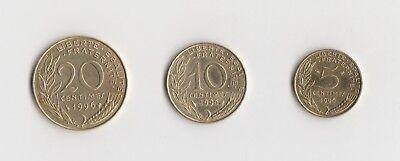 5 ,10 und 20 Centimes Frankreich  1996    (1891)   andere Jahrgänge auf Anfrage