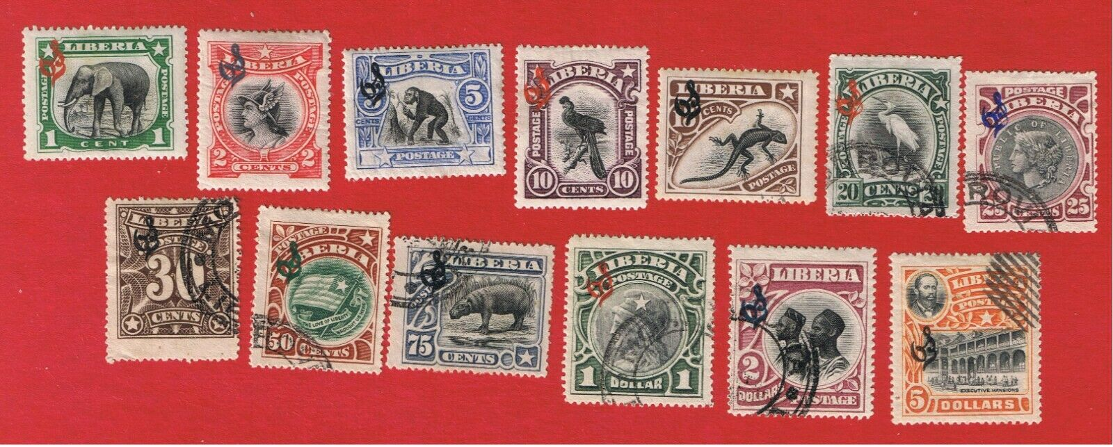 Liberia O46-O58 VF Used Official Stamps Free S/H - $4.69