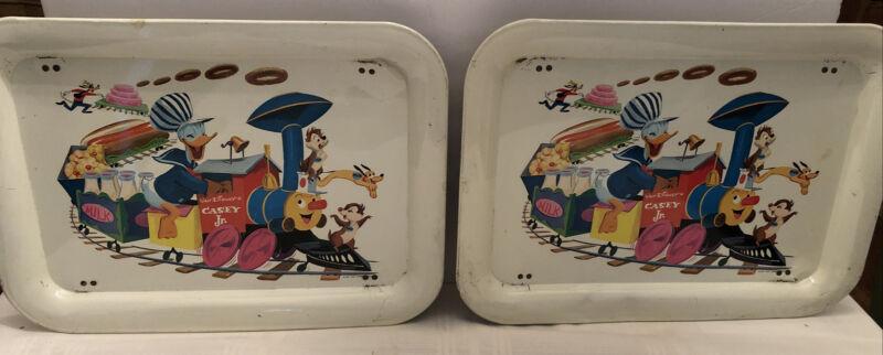 2 Vintage 1961 Walt Disney TV Tray Donald Duck Casey Jr.Train - w/ working legs