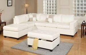 Sacramento white Leather Sofa