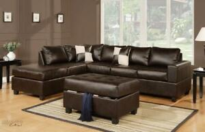 FREE DELIVERY in Ottawa! Sacramento Leather Sectional Sofa with Reversible Chaise! Black, Cream, and Espresso In Stock!