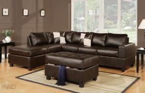 Urban Cali Sacramento Leather Sectional Sofa with Reversible Chaise! Black, Cream, and Espresso in Stock in Canada!