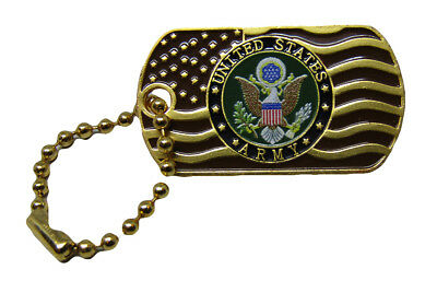 United States Army Waving Gold Flag Hat Cap lapel Pin/Key Chain